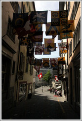 Flags on Widdergasse.  Altstadt (Old Town).