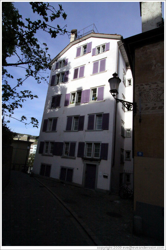 House with purple shutters.  Wohllebgasse.  Altstadt (Old Town).