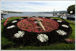 Flower clock on B?rkliplatz, on the shore of Z?richsee (Lake Z?rich).