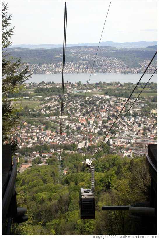 Cable car, with the town of Adliswil below, viewed from Felsenegg.