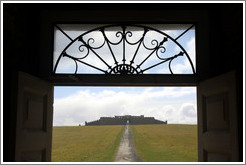Downhill House, viewed through the door of the Mussenden Temple.