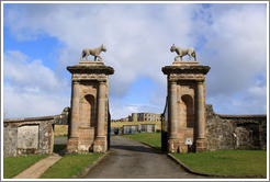 Lion's Gate which are actually adorned by Ounces -- heraldic beasts similar to lynxes or leopards -- rather than lions.  Grounds of the Mussenden Temple.