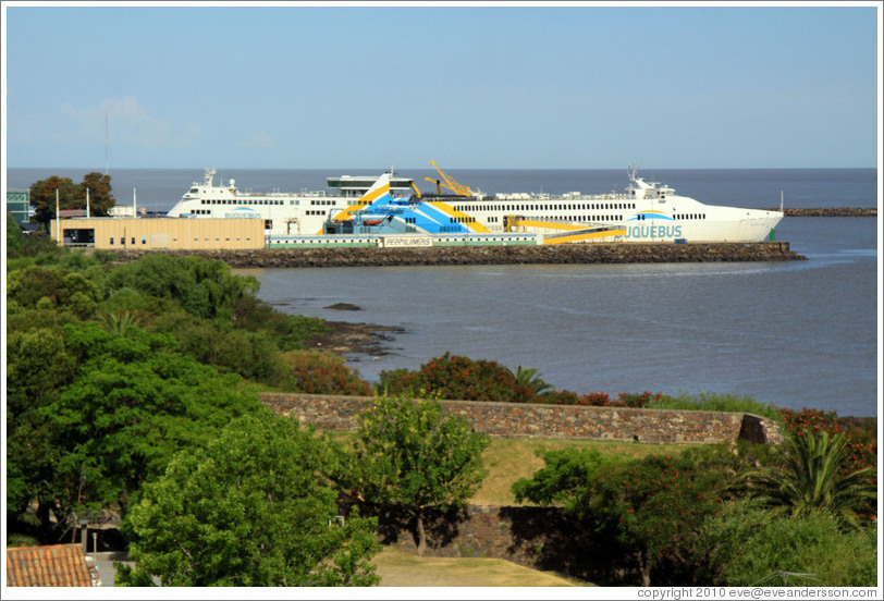 Buquebus, a passenger ship that crosses Rio de La Plata to Buenos Aires, docked at the port in Colonia del Sacramento.