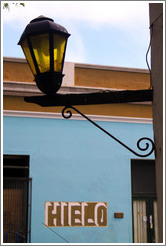 Streetlamp and sign advertising hielo (ice). Calle del Colegio, Barrio Hist?o (Old Town).