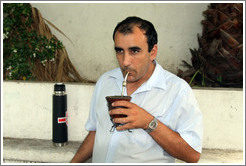 Man drinking mate, Calle del Colegio, Barrio Hist?o (Old Town).
