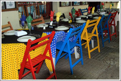 Colorful tables and chairs, El Drugstore restaurant/bar, Calle Del Gobernador Vasconcellos, Barrio Hist?o (Old Town).