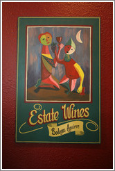 Winery logo.  Tasting room, Bodegas Aguirre Winery.