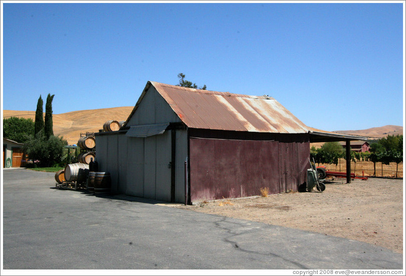 Shed.  Bodegas Aguirre Winery.