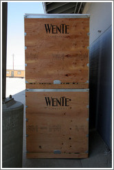 Fermentation boxes.  Wente Vineyards Estate Winery.