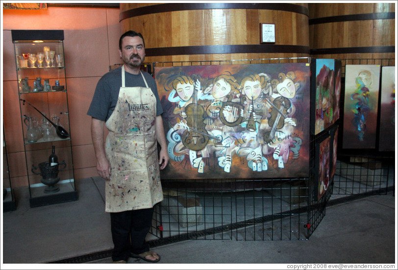 Jim Stallings, Artist in Residence at Clos Pegase Winery, with his artwork.