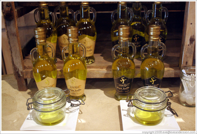 Olive oils for tasting.  St. Helena Olive Oil Company.