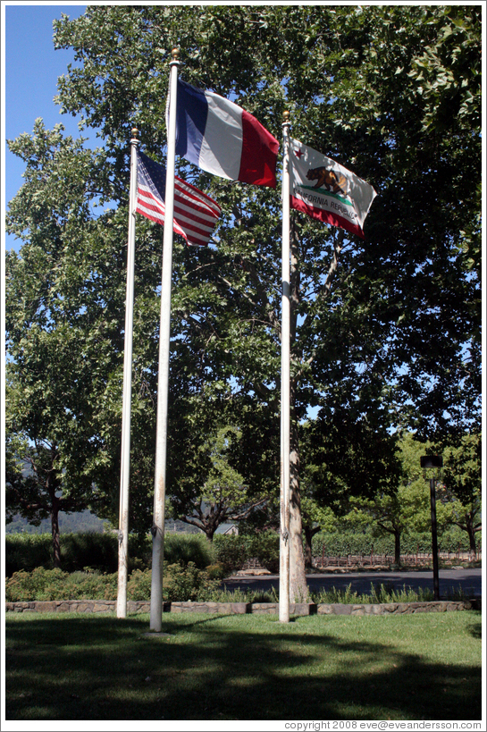 American, French, and Californian flags.  St. Supéry Winery.