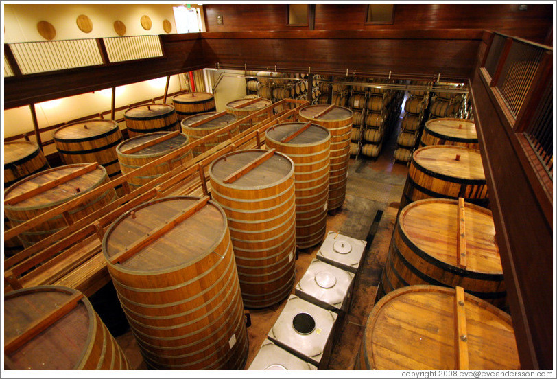 Oak barrels.  Sterling Vineyards.