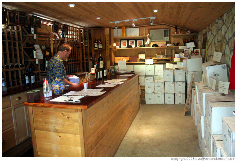 Tasting room.  Zahtila Vineyards.