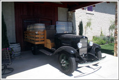 Old car with barrels.  Calcareous Vineyard.