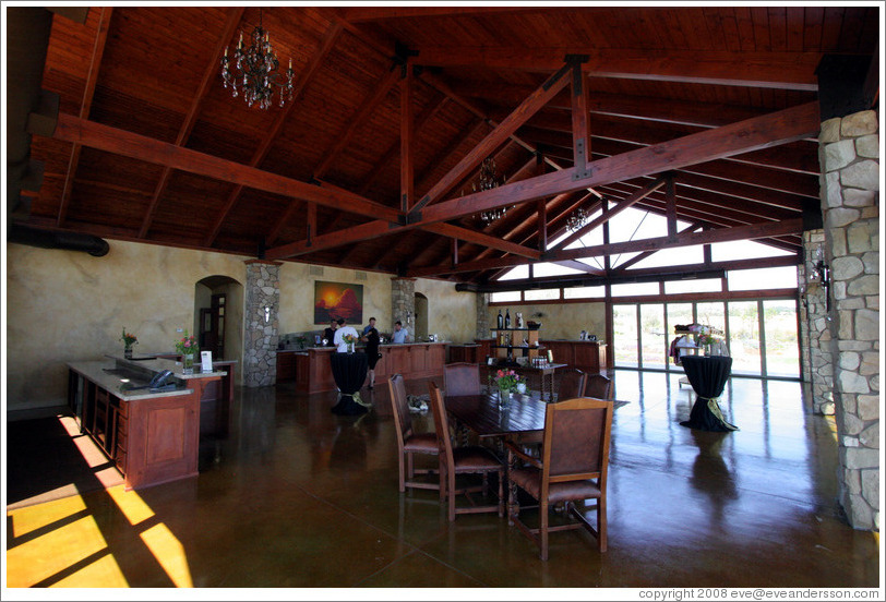 Tasting room.  Calcareous Vineyard.