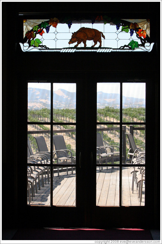 Boar stained glass window.  Eberle Winery.