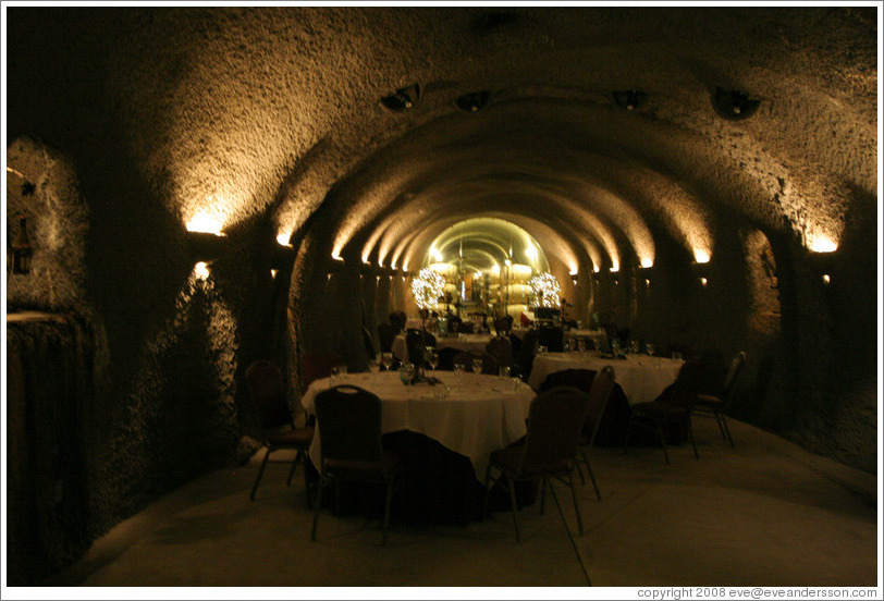 Wild Boar Room in the wine cave, used for hosting special dinners.  Eberle Winery.