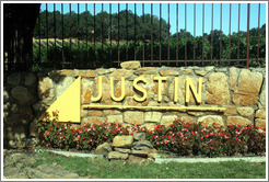 Sign.  Justin Vineyards and Winery.