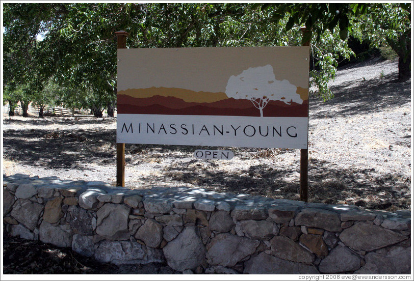 Sign.  Minassian-Young Vineyards.