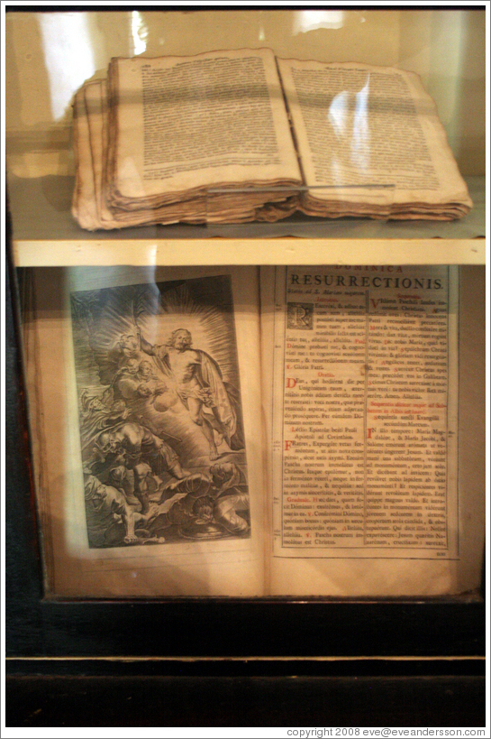 Old book.  San Juan Bautista Mission.