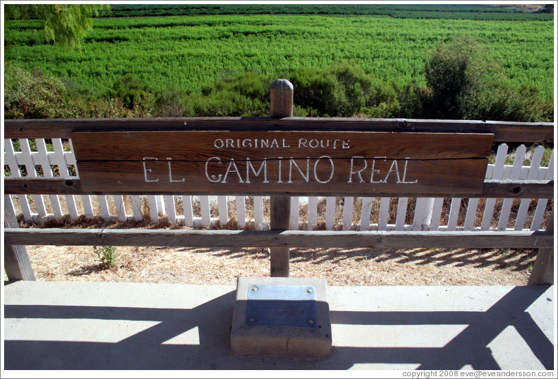 Original route of El Camino Real.    San Juan Bautista Mission.