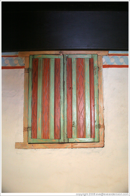 Painted shutters.  San Juan Bautista Mission.