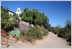 Differing ground heights due to San Andreas Fault.  San Juan Bautista Mission.