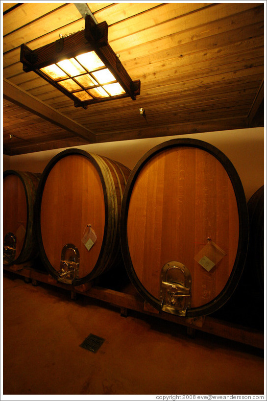 Large oval barrels, which impart less oak flavor into wine than traditional barrels.  Gainey Vineyard.
