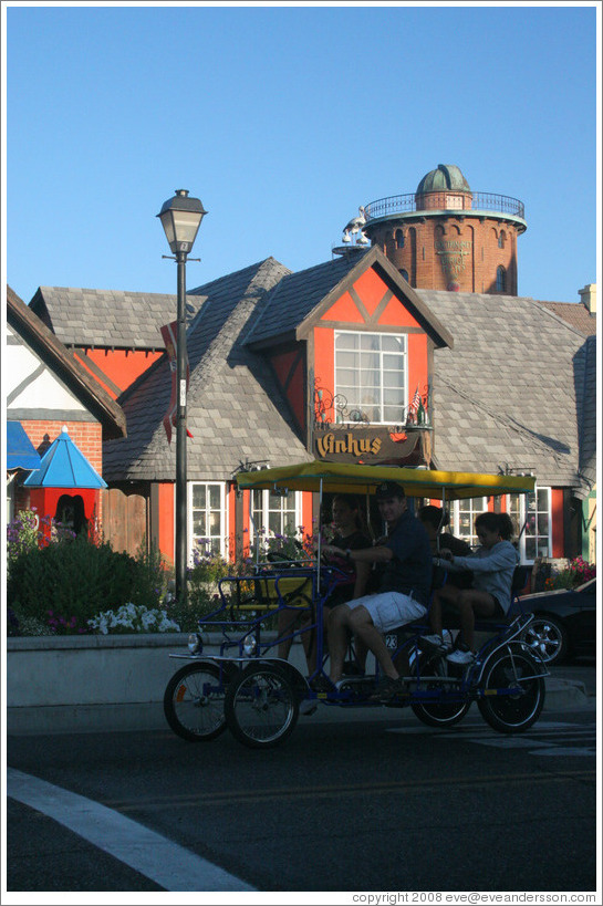 Pedal car in front of Vinhus.  Downtown Solvang.