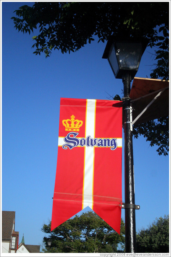 Solvang sign.  Downtown Solvang.