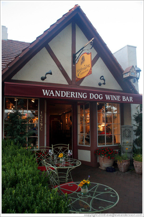Wandering Dog Wine Bar.  Downtown Solvang.
