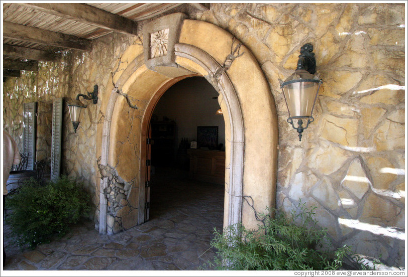 Door leading to tasting room.  Sunstone Vineyards and Winery.