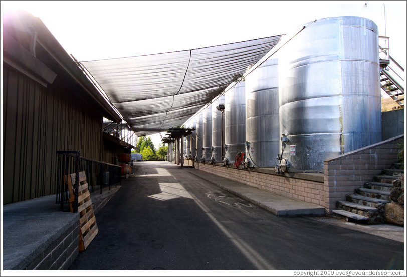 Large steel tanks, Alexander Valley Vineyards.
