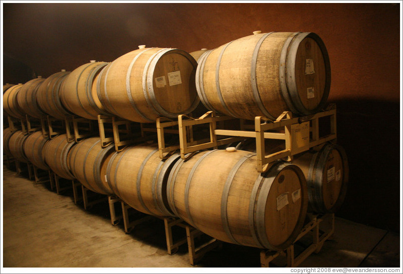 Barrels in a cave.  Benziger Family Winery.