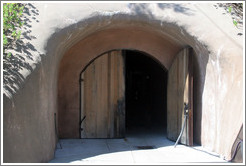 Entrance to cave in which barrels of wine are stored.  Benziger Family Winery.