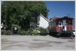 Tasting room and train car. Foppiano Vineyards.