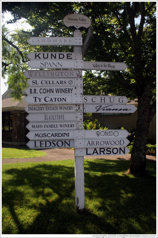 Sign pointing to Sonoma wineries.
