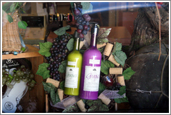 Grape-derived beauty supplies in shop window.  Downtown Healdsburg.