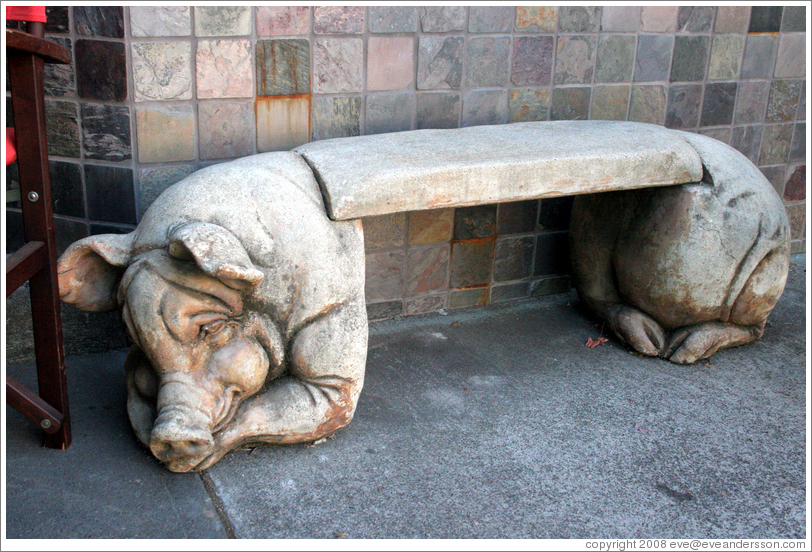 Pig bench at Restaurant Charcuterie.  Downtown Healdsburg.