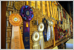Wall of awards.  Hop Kiln Winery.