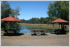 Pond with picnic tables.  Hop Kiln Winery.