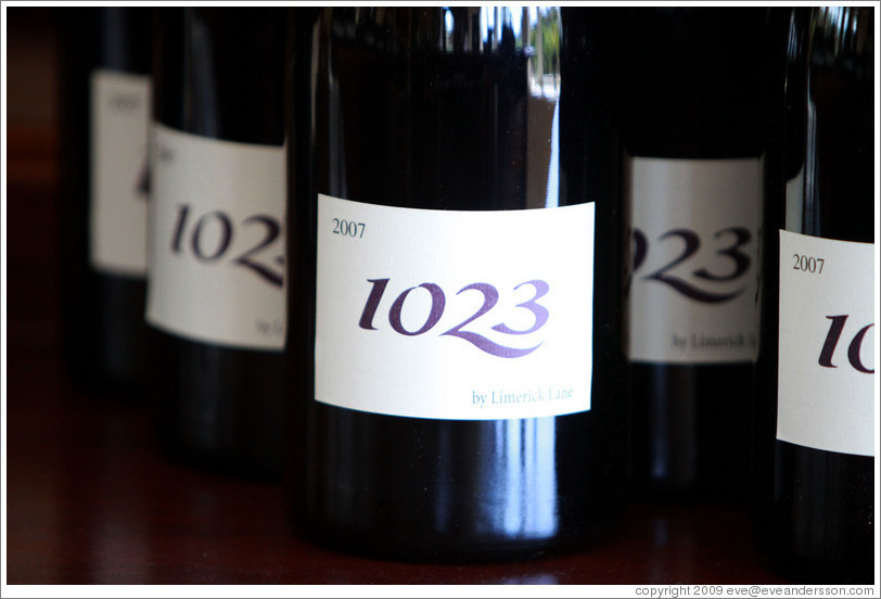 Closeup, bottles of 1023 wine, Limerick Lane Cellars.