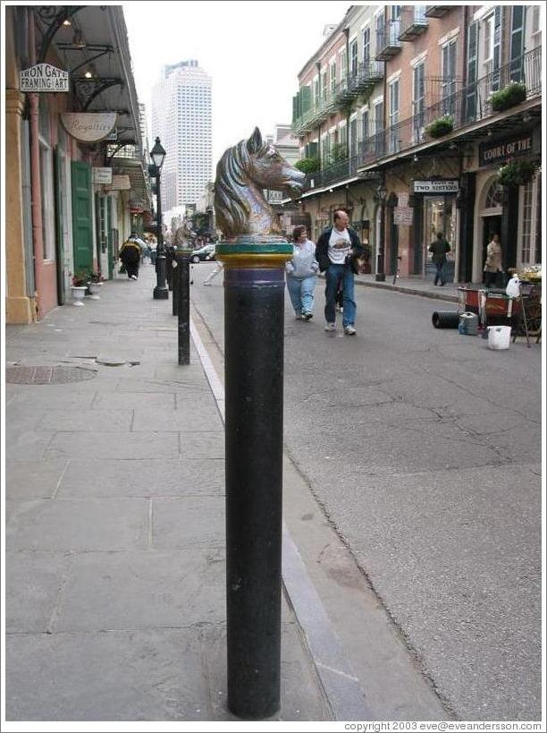 French Quarter. Post with horse-shaped top.
