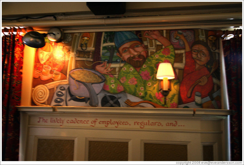 Mural of man threading spaghetti through his nose.  Interior of The Rams Head pub. Hoyt St. and 23rd Ave., Alphabet District.