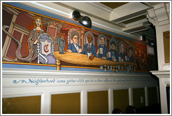 Mural of patrons drinking alcohol in coffee cups during Prohibition.  Interior of The Rams Head pub. Hoyt St. and 23rd Ave., Alphabet District.