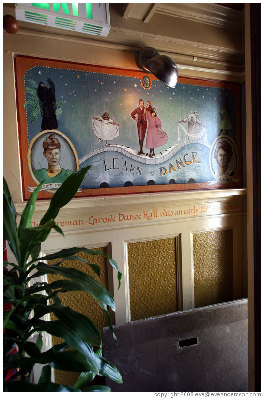 Mural of the Foreman-Larowe Dance Hall, which existed from about 1892 to 1911.  Interior of The Rams Head pub. Hoyt St. and 23rd Ave., Alphabet District.