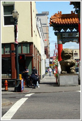 Guy getting arrested near Portland Chinatown gate.