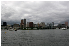 Portland skyline with Hawthorne Bridge, viewed from Willamette River.