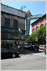 "Old building labeled ""Outdoor Store."" Oak St. and 3rd Ave., Waterfront District."